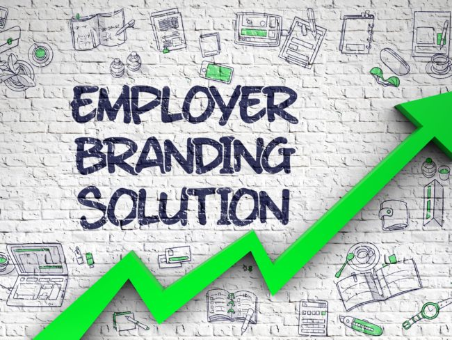 Employer Branding Solution - Line Style Illustration with Doodle Elements. Employer Branding Solution - Development Concept with Doodle Icons Around on the White Wall Background. 3D Render.